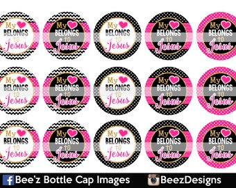 33% off SALE- INSTANT DOWNLOAD- My heart belongs to Jesus- 1inch Bottlecap Images- 4x6 Digital Collage Sheet