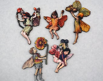 Flower Fairies Autumn Set - Wood Laser Cut - Altered Art Embellishments