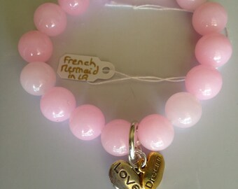 "Genuine Pink Jade Sterling Silver Gold Swarovski Charms Stretch Bracelet, 7.5"" Long, by FrenchMermaidInLA"