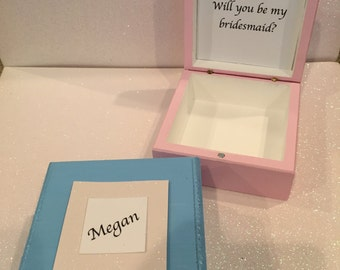 Will you be my Bridesmaid Jewelry Box with First Name