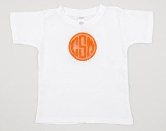 Orange Gingham Monogram Applique Short-Sleeved Boys T-Shirt?/ Blanks Boutique Monogrammed Boys Shirt// Applique Boys T-Shirt