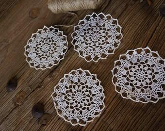 Vintage Crotchet Doilies, 4 Matching Coaster Doilies, Wedding doilies, Flower doilies, Granny's doilies, cotton crothet doilies, art