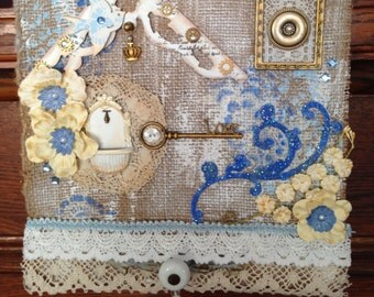 Shabby Chic, Home Decor, Burlap, Blue, Cream, Wall Hanging, Lace