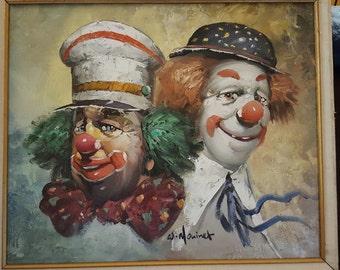 W. Moninet clown painting