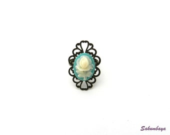 bronze filigree ring turquoise and adjustable white rose cameo