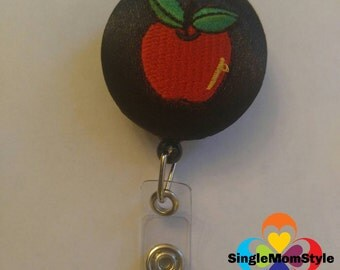 Teacher name tag fabric covered badge reel with Apple applique