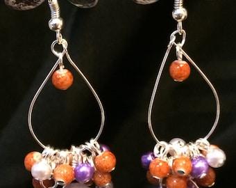 Amethyst Statement Earrings, Drop Earrings, Dangle Earrings, Statement Earrings, Cluster Beaded Earrings