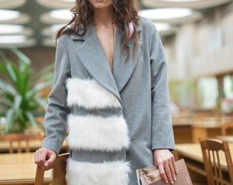 Woman coat with faux fur, wool coat, gray coat