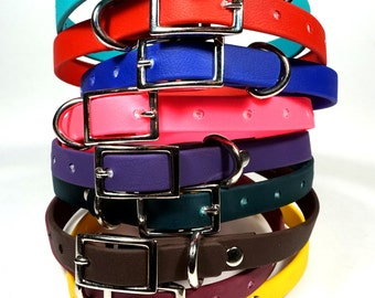 """1/2"""" Leather-like DoggleHead Collar (Small to Small/Medium Dogs 8""""-16"""" Neck) Stinkproof + Waterproof"""