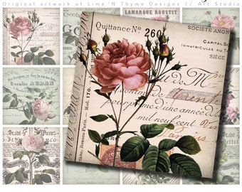 Redoute shabby chic roses / Vintage roses / Dominoes / collage sheets / vintage ephemera / scrapbook paper / embellishments/ backgrounds AF
