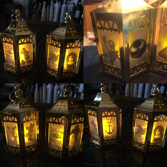 Disney inspired battery operated plastic mini lantern gold