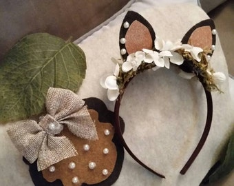 Deer costume headband and tail set