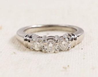 Vintage Platinum Past, Present, Future Diamond Engagement Ring