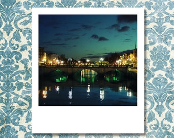 """Custom Polaroid Style Cotton Canvas Print with Copyright Photograph of Dublin - """"Night in the City"""",  3 sizes available, Original Wall Decor"""