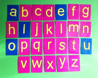 Lowercase Montessori letters cards, blue and pink Montessori alphabet, sensory alphabet cards