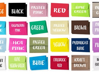 Colored Envelopes, Straight Flap Envelopes, A2 Envelopes, A7 Envelopes