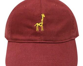 Capsule Design Giraffe Embroidered Dad Baseball Cap Burgundy