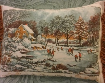The SKATING POND PILLOW, Currier & Ives Upcycled 1973 Cotton Calendar Towel,BrownFringedTeaTowelPillow,CalendarWallHanging,Winter Decor