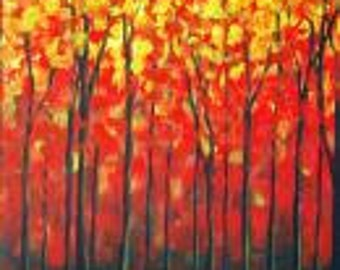 Fall Trees Forest Woods Landscape Sunshine Spring Gift Present Acrylic Painting Original