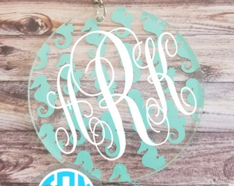 SALE!! Seahorse Monogrammed Keychain - 3 Inch Circle!! - Mother's Day Gift - Birthday Gift - Valentine's Gift