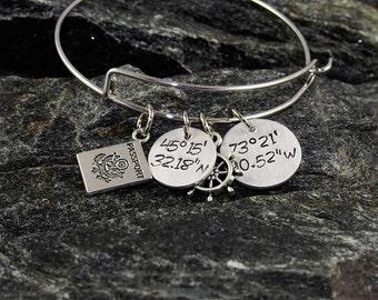 hand stamped coordinate bracelet custom location bangle adjustable latitude and longitude GPS coordinates