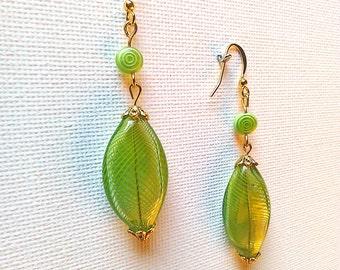 Green White, green gala, cocktail earrings green earrings, earrings Apple green, hand-blown, glass earrings green earrings pin