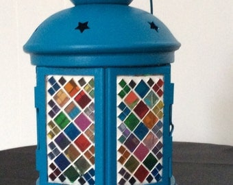 Items Similar To Moroccan Lantern Blue Glass Recycled