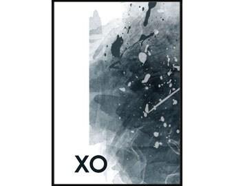 XO, hugs and kisses, abstract poster