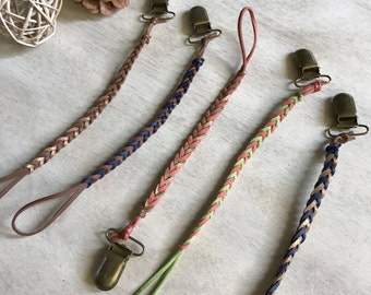 Braided Pacifier Clip/ Teething Toy Clip/ Pacifier Holder/ Dummy Clip/ Paci Clip/ Toy Clip.