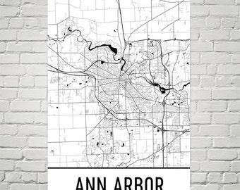Map Of Ann Arbor Etsy - Ann arbor map