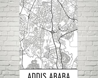 Addis Ababa Map, Addis Ababa Art, Addis Ababa Print, Addis Ababa Ethiopia Art Poster, Addis Ababa Wall Art, Addis Ababa Gift, Decor, Art