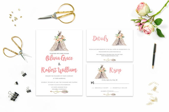 Floral wedding invite word_53,INSTANT DOWNLOAD, Editable Wedding template invitation. Microsoft Word template.Wedding Printable