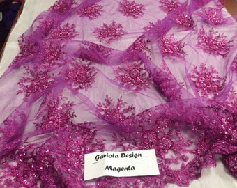 Super bridal weddings gaviota heavy beaded small flower mesh lace magenta. Sold by the yard