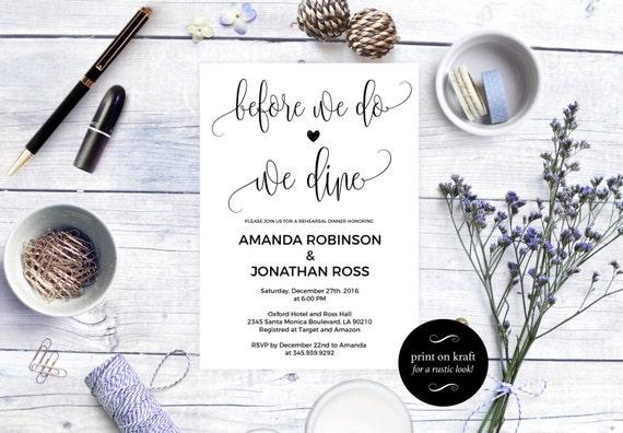 Before we do we dine Rehearsal Dinner Invitation - Tonight We Dine Invitation - Simple Rustic Kraft Wedding Invitation #WDH0090
