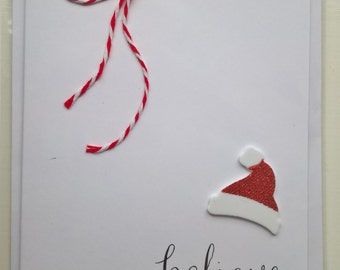 Believe handmade Christmas card santa hat