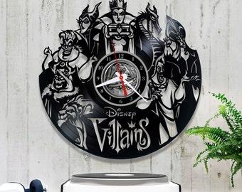 Disney Vinyl Clock/Villains Record Clock 1/5/3/Horloge Vinyl Disney/Clock for Kids/Vinyl Record/Wall Vinyl Clock/Vinyl Record