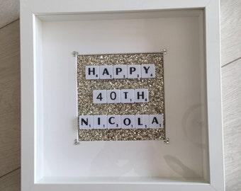 Happy Birthday Scrabble Frame