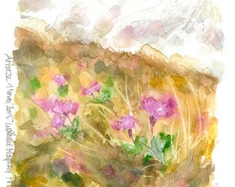 Original watercolor painting pink Primroses