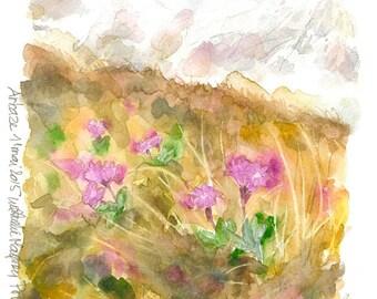 Original watercolor painting pink Primroses