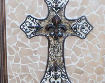 Fleur-de-lis    Cross Tile Art Picture