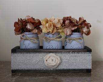 Rustic Mason Jar Wood Box- Blue Gray