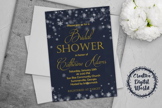 Bridal Shower Invitation Navy Blue Gold Winter Snowflakes Glitter Lights Digital Invites Printable Invite Snow Party Wedding