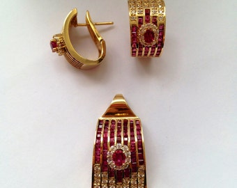 Retro Style Ruby and Diamond Earrings and Pendant set