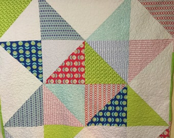 """Picnic Time 66"""" by 66"""" Star Quilt Red Blue Yellow Green Cotton Square White"""