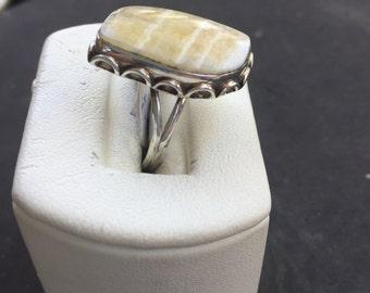 Silver and brecciated jasper ring
