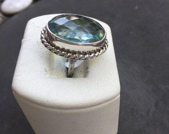 Silver and aqua blue quartz ring