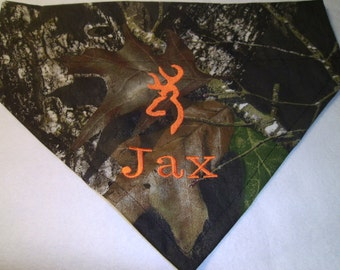 Camo, Dog Bandana, personalized,  Mossy Oak, Monogram, Over the Collar, Hunting,  Dogs, Orange, embroidery, dog lovers gift,