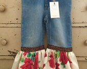 Boutique Vintage Upcycled Tablecloth Red Roses Linen ruffled bell pants 4T