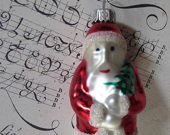 Vintage Christmas Ornament Little Santa Claus Hand Blown Glass Made In Poland  #80