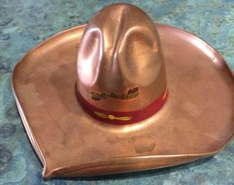 Vintage Copper Cowboy Hat Ashtray Salt Lake City Souvenir